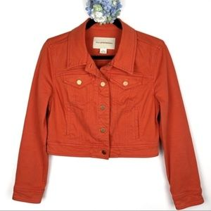 Anthropologie Denim Cropped Orange Jacket Small